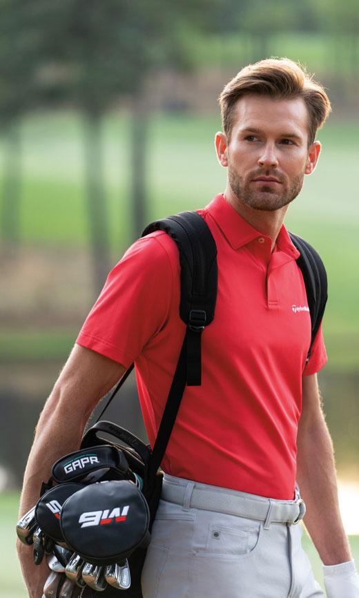 Model with golf bag shot