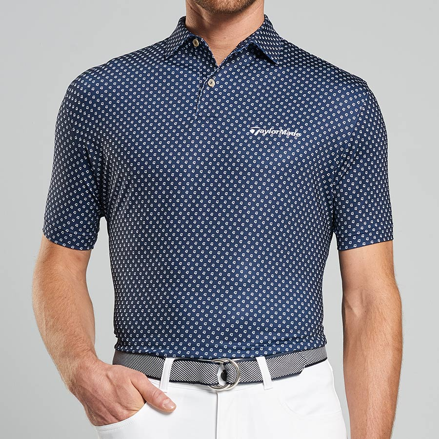 What is a Golf Shirt - Taylormade Golf Print Stretch Jersey Polo Size XL | Navy